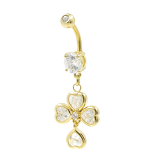 Gold Plated Naval Belly Rings 4 Heart CZ  Dangling White Stones Fashion Jewelry