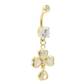Gold Plated Navel Belly Rings 4 Heart CZ  Dangling White Stones Fashion Jewelry