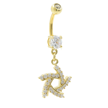 Gold Plated Navel Belly Ring Spiral CZ Dangling White Stones Fashion Jewelry