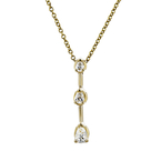 Charming Modern Ladies 14K Yellow Gold Diamond Necklace & Dangle Pendant Set NEW