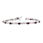 Exquisite Modern 14K White Gold Ladies Diamond & Ruby Bracelet Unique Design - New