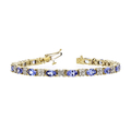 Gorgeous Modern Ladies 14K Yellow Gold Diamond & Tanzanite Bracelet - New
