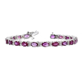 Stylish Modern Ladies 14K White Gold Diamond & Ruby Bracelet - Brand New