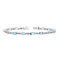 Charming Modern Ladies 14K White Gold Diamond & Blue Topaz Bracelet - Brand New