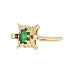 Exquisite Modern Ladies 14K Yellow Gold Diamond & Emerald Ring - Brand New