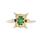 Exquisite Modern Ladies 14K Yellow Gold Diamond & Emerald Ring - Brand New