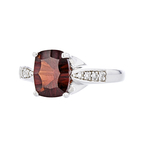 Fancy Modern 14K White Gold Diamond & Garnet Lady's Ring - Brand New