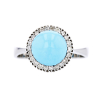 Exquisite Modern 14K White Gold Diamond & Turquoise Ladies Ring - Brand New