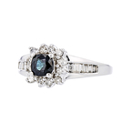 Charming Modern 14K White Gold Diamond & Dark Blue Sapphire Ladies Ring - New
