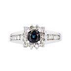 Charming Modern 14K White Gold Diamond & Dark Blue Sapphire Ladies Ring - New