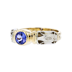 Exquisite Modern 14K Two-Tone White & Yellow Gold Blue Tanzanite Ladies Ring