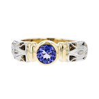 Exquisite Modern 14K Two-Tone White & Yellow Gold Blue Tanzanite Ladies Ring