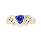 Stylish Modern 14K Yellow Gold Diamond & Blue Tanzanite Ladies Ring - New