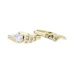 Stylish Modern 14K Yellow Gold Ladies Diamond Double Ring - Brand New