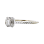 Elegant Modern Ladies 14K White Gold Sparkling Diamond Halo Ring - Brand New