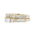 Stylish Modern 14K Yellow Gold Ladies Diamond Double Ring - Brand New