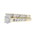 Exquisite Modern 14K Two Tone Gold Ladies Diamond Double Ring - Brand New