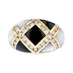 Stylish Modern 14K Yellow Gold Diamond Black/White Stripes Ladies Ring - New