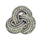 Unique Modern Ladies 18K White Gold Diamond & Green Amethyst Ring - Brand New