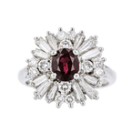 Gorgeous Modern 14K White Gold Diamond & Red Ruby Ladies Ring - Brand New