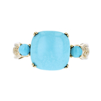 Charming Modern 14K Yellow Gold Blue Turquoise Ladies Ring - Brand New