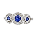 Exquisite Modern Ladies 14K White Gold Blue Sapphire Diamond Halo Ring - New