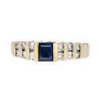 Stylish Modern 14K Yellow Gold Diamond & Blue Sapphire Ladies Ring - Brand New