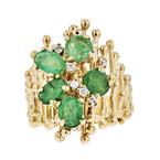 Exquisite Modern Ladies 18K Yellow Gold Emerald & Diamond Statement Ring - New
