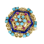 Gorgeous Modern Ladies 18K Yellow Gold Turquoise Ruby Diamond Statement Ring New