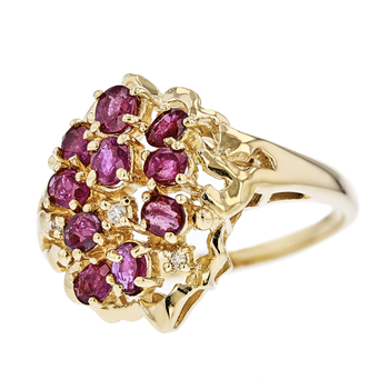 Exquisite Modern Ladies 14K Yellow Gold Ruby & Diamond Statement Ring - New