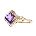Exquisite Modern 14K Yellow Gold Diamond & Purple Amethyst Ladies Ring - New