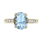 Charming Modern Lady's 18K Yellow Gold Diamond & Aquamarine Ring - Brand New