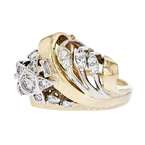Gorgeous Modern Ladies 14K Two Tone Yellow & White Gold Diamond Ring - New
