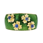 Unique Modern Ladies 18K Yellow Gold Floral Design Sapphires Flower Shaped Ring