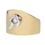 Stylish Modern 14K Yellow Gold Sparkling Diamond Ladies Ring - New