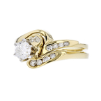 Stunning  Modern 14K Yellow Gold Ladies Diamond Double Ring - Brand New