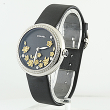 Chanel 18K White Gold Mademoiselle Prive Automatic Floral Motif Diamond Watch