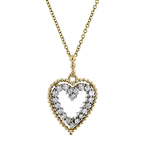 Modern Ladies 14K Two-Tone Gold Diamond Necklace & Heart Shaped Pendant Set NEW
