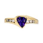 Stylish Modern Ladies 14K Yellow Gold Diamond & Amethyst Ring - Brand New
