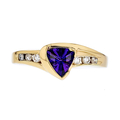 Stylish Modern Ladies 14K Yellow Gold Diamond & Amethyst Ring - Brand New