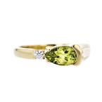Exquisite Modern Ladies 14K Yellow Gold Diamond & Peridot Ring - New