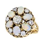 Modern 18K Yellow Gold Diamond & Opal Ladies Statement Ring - 1.42CTW/3.01CTW