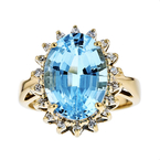 Exquisite Modern 14K Yellow Gold Blue Topaz Diamond Halo Ladies Statement Ring