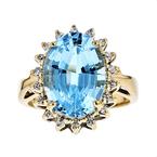 Exquisite Modern 14K Yellow Gold Blue Topaz Diamond Halo Ladies Statement Ring
