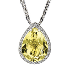 Ladies 14K White Gold Yellow Green Quartz & Diamond Necklace & Pendant Set NEW