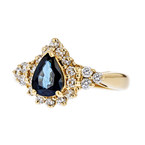 Exquisite Modern 14K Yellow Gold Diamond & Blue Sapphire Ladies Ring - New