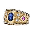 Stunning Modern 14K Yellow Gold Diamond, Ruby & Sapphire Ladies Ring - Brand New