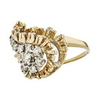 Exquisite Modern 14K Yellow Gold Ladies Diamond Ring - Brand New