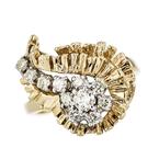Exquisite Modern 14K Yellow Gold Ladies Diamond Ring - Brand New