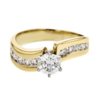 Stylish Modern Ladies 14K White & Yellow Gold Diamond Ring - Brand New